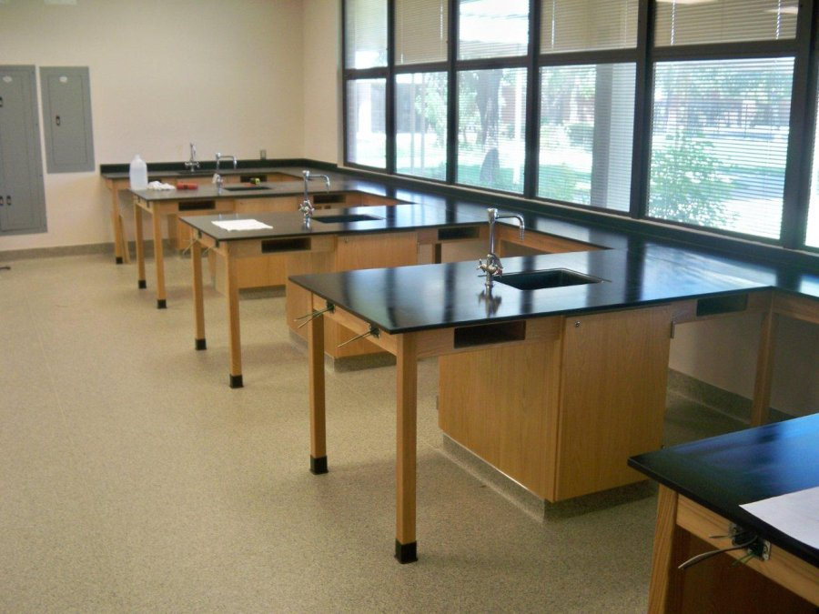 Custom wood student workstations